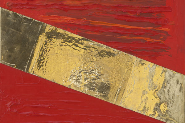 power stream, acryl, high polish-double poliment gilding, on canvas, platinum gold 23,75 karat, 40×50, 2015